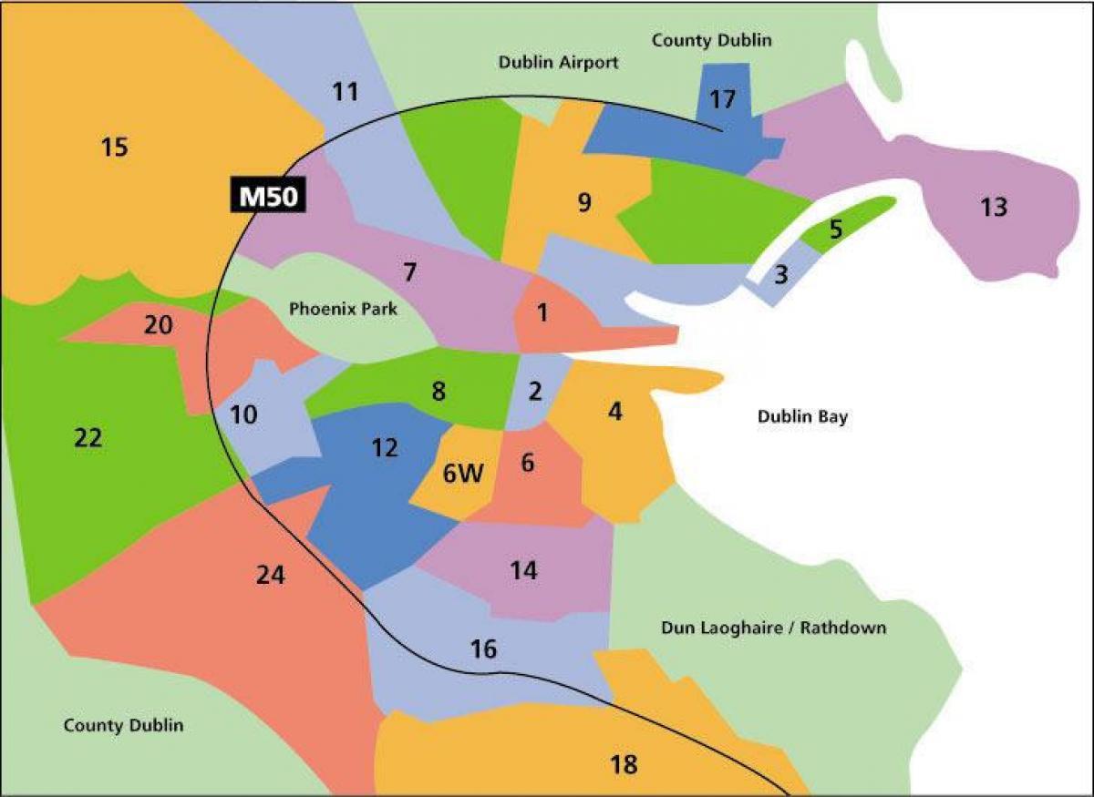 Dublin Kort Omrader Kort Over Dublin Omrader Irland