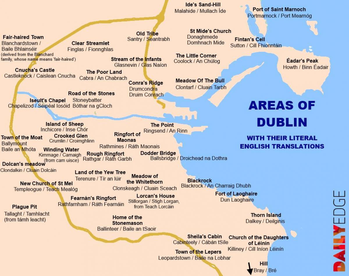 Dublins Forstaeder Kort Kort Over Forstaeder Dublin Irland