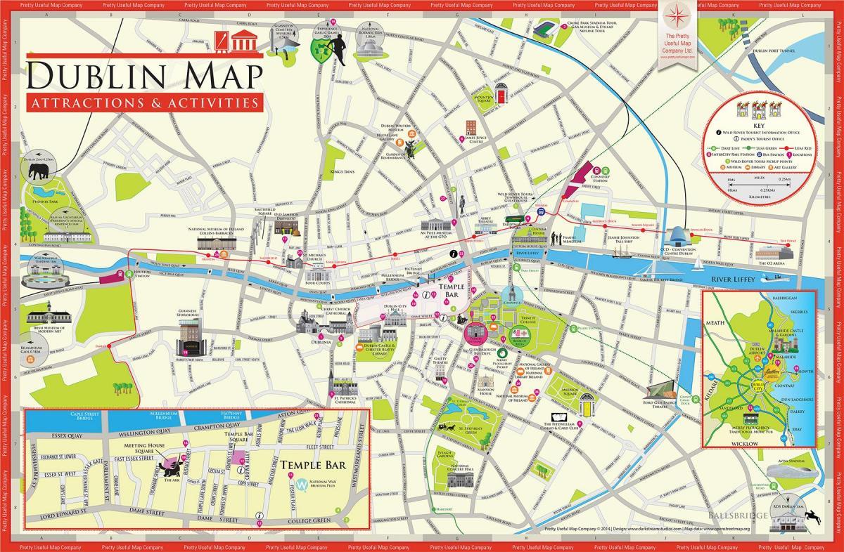 Turist Kort Dublin Kort Af Dublins Turist Attraktioner Irland